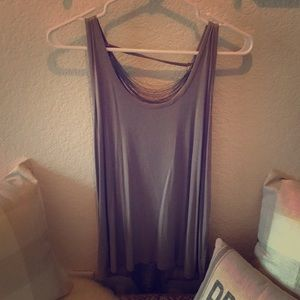 Greylin taupe tank with back detail (NWT)